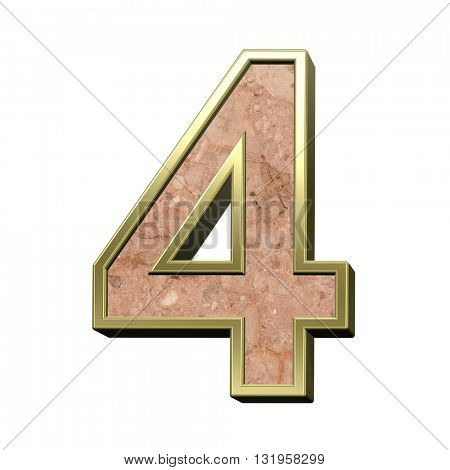One digit from stone conglomerate with gold frame alphabet set isolated over white. 3D illustration.