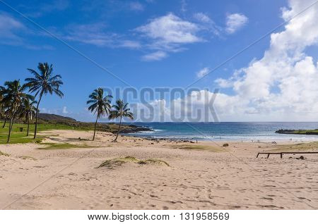 The Anakena Beach In Easter Island, Chile
