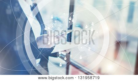 Picture business woman wearing black suit, talking smartphone and holding papers hands.Open space loft office.Panoramic windows background.Connections world wide interface.Horizontal, flares.Film effect