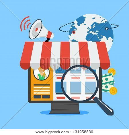 Vector concept online shopping and internet shopping. Computer with goods on screen and searching magnifying glass. Globe planet, megaphone and money on background. Flat style. Web infographics