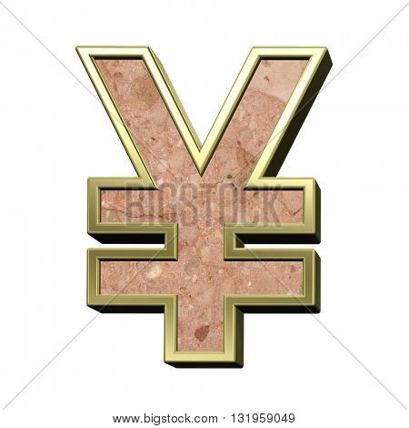 Yen sign from stone conglomerate with gold frame alphabet set isolated over white. 3D illustration.