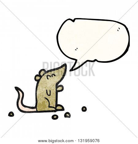 freehand speech bubble textured cartoon mouse