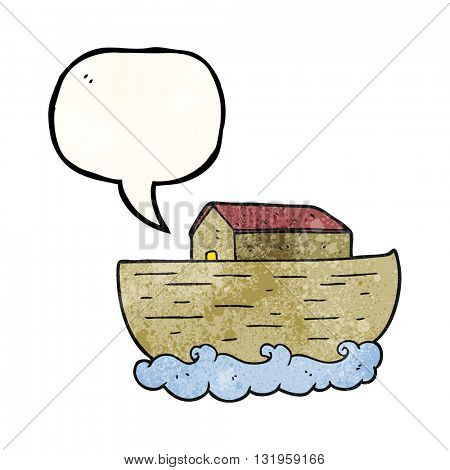 freehand speech bubble textured cartoon noah's ark