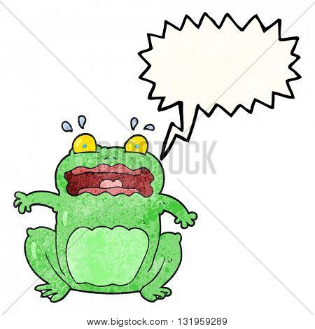 freehand speech bubble textured cartoon funny frightened frog