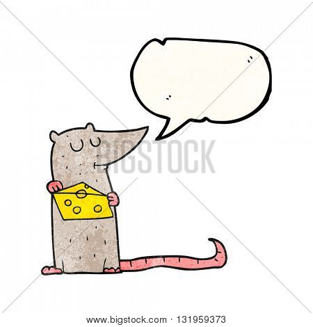 freehand speech bubble textured cartoon mouse with cheese
