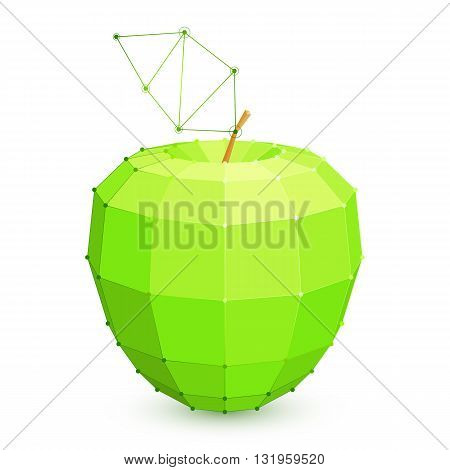 Polygonal low poly green apple fruit on white background
