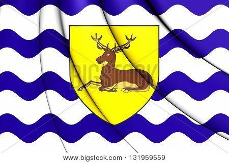 Flag Of Hertfordshire County, England.