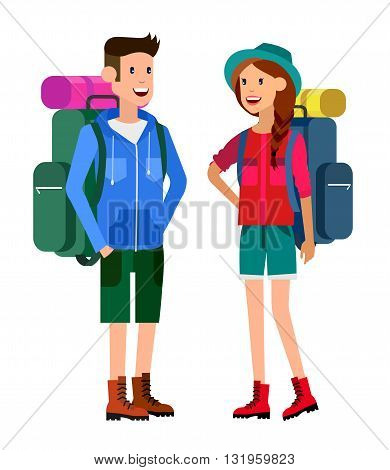 camping characters.  Men and woman character camping tourists. Hiking and camping. Vector camping flat illustration