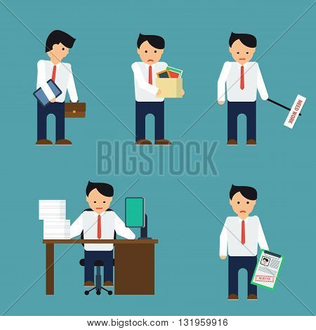 Vector set depressed businessman. Businessman with tablet fired busy working with refusal. Man in shirt and tie. Businessman is in different situations. Vector illustration.