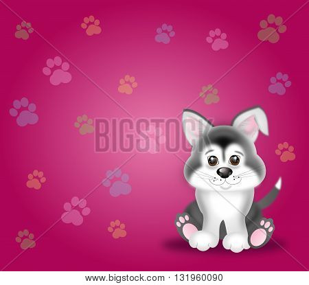 Cute puppy illustration on pink background with dog paws