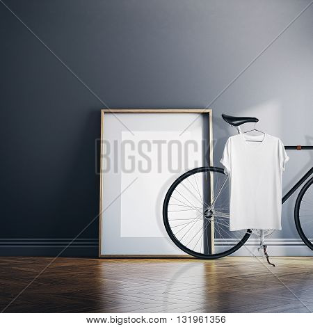 Photo Interior Modern Studio House with Classic bicycle.Empty White Canvas on Natural Wood Floor.Blank Tshirt hanging Bike. Horizontal mockup