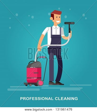 Poster design for cleaning service and supplies. Vector detailed character professional housekeeper. Cleaning kit icon. Vector cleaning. Illustration cleaning