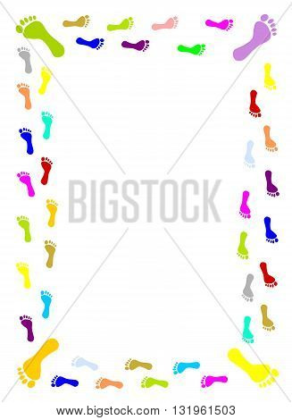 Colourful foot prints border - vector illustration.