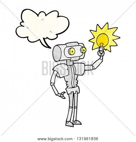 freehand speech bubble textured cartoon robot with light bulb