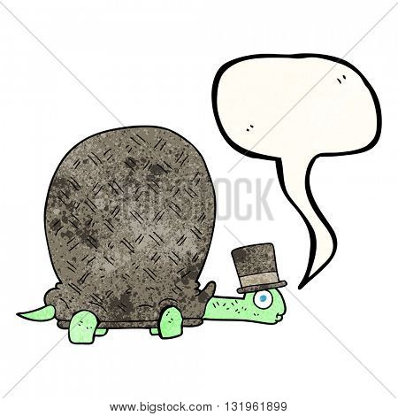 freehand speech bubble textured cartoon tortoise