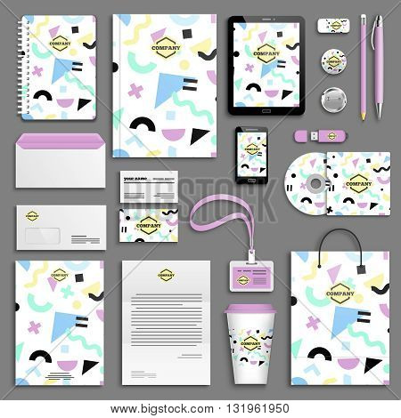 Trendy memphis colorful Corporate identity template set. Business stationery mock-up with logo. Branding design. Colorful background.
