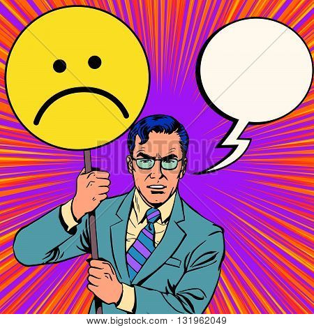 Policy protester poster sad emoticon pop art retro vector. Political protest. Civil protest