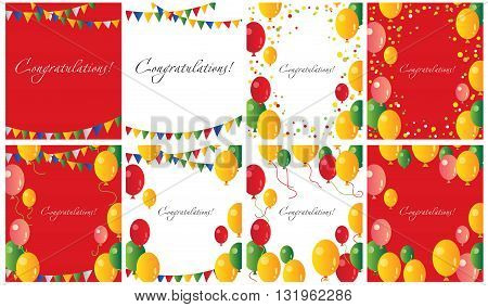red and white festive frame cards with the words - congratulations! background with balloons and flags