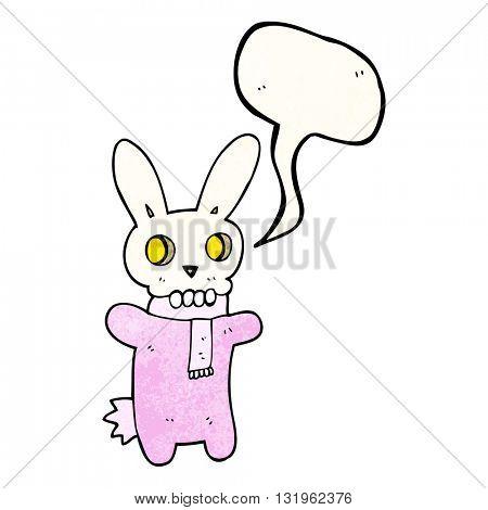 freehand speech bubble textured cartoon spooky skull rabbit