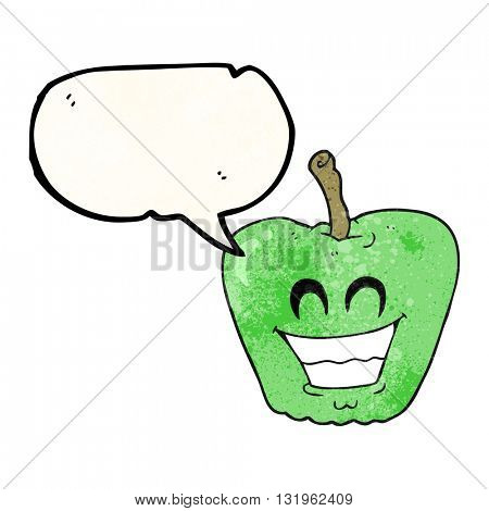 freehand speech bubble textured cartoon grinning apple
