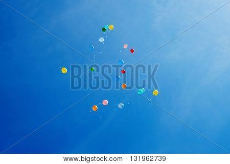 Multi-colored balloons on a background of blue sky.