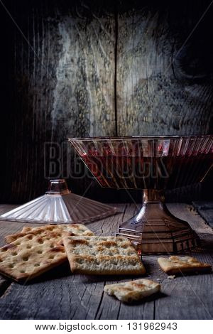 Group of love cookies on wooden background, closeup