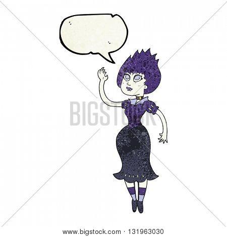 freehand speech bubble textured cartoon vampire girl