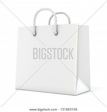 Single empty blank shopping bag. 3D render illustration isolated on white background