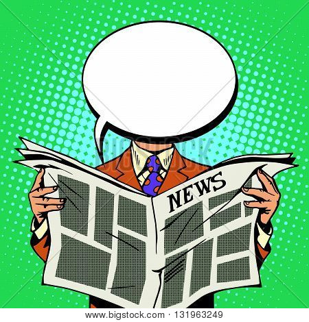 Bubble head reader of the newspaper pop art retro vector