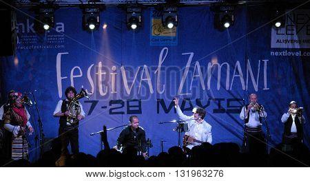 ANKARA/TURKEY-MAY 28, 2016: Goran Bregovic and Wedding&Funeral Band at the stage of Next Level AVM during the 20th International Ankara Jazz Festival. May 28, 2016-Ankara/Turkey