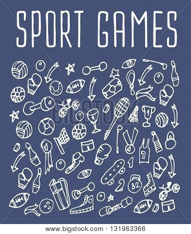 Sport games hand drawn seamless logo. Backgrounds Sport games, wrapping, wallpapers Sport games, textile prints. Vector illustration of doodle Sport games elements