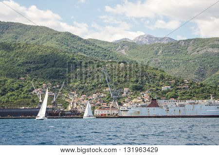 Tivat, Montenegro - 26 April, Boats passing by the port, 26 April, 2016. Regatta