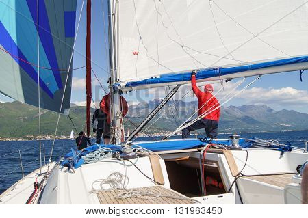 Tivat, Montenegro - 26 April, People on the boat under sail, 26 April, 2016. Regatta