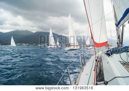 Tivat, Montenegro - 28 April, The regatta under the cloudy sky, 28 April, 2016. Regatta