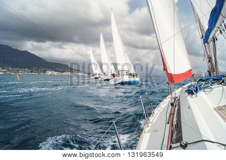 Tivat, Montenegro - 28 April, The line of four yachts under bias, 28 April, 2016. Regatta