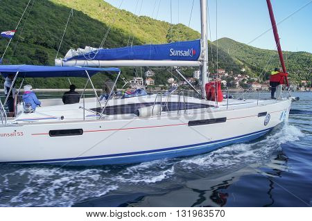 Tivat, Montenegro - 29 April, Yacht going to the motor without a sail, 29 April, 2016. Regatta