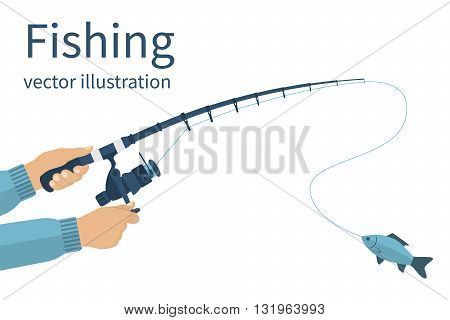 Fishing concept. Fishing banner poster. Vector illustrations flat design. Fisherman holding in hands fishing rod spinning rods with a catch. Fishing rod with fishing line and reel.