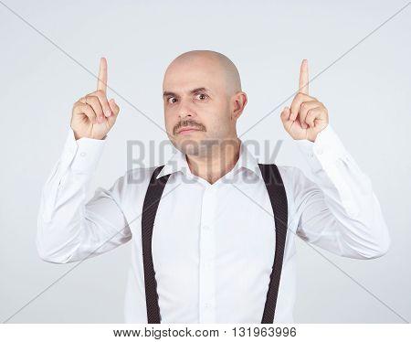 Mustache Bald Man Shows Finger Up