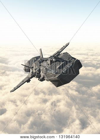 Science fiction illustration of an interplanetary spaceship in the high atmosphere above the clouds of an alien planet, 3d digitally rendered illustration (3d rendering, 3d illustration)