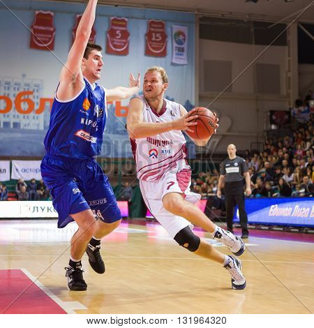 Bc Krasnye Krylia Guard Anton Ponkrashov (7) Drives To The Basket