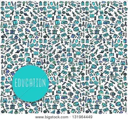 Hand drawn School education seamless logo, School education doodles elements, School education seamless background. School  Vector sketchy illustration