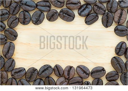 Coffee On Grunge Wooden Background With Copy Space Design For Signboard, Poster, Notice Board