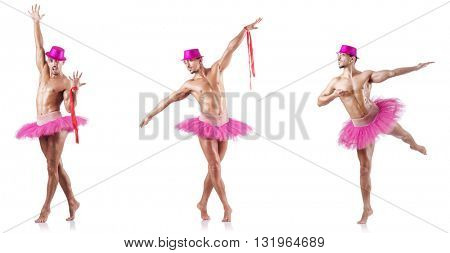 Man wearing ballet tutu isolated on white