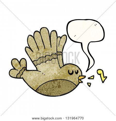 freehand speech bubble textured cartoon singing bird