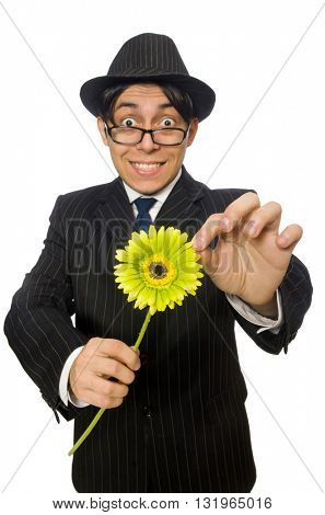 Man with flowers isolated on white