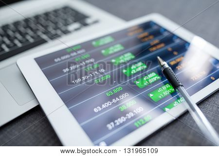 Financial charts on tablet computer