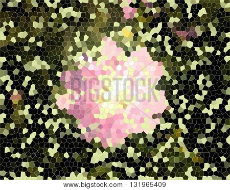 Abstract pink flower on yellow green background