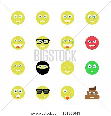 funny smile vector icon set of 16