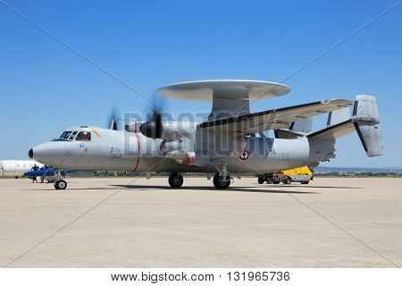 ZARAGOZA SPAIN - MAY 20 2016: French Navy E-2C Hawkeye radar plane starting up it's engines before departure