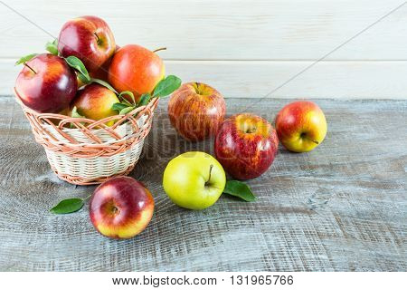 Fresh apples in the basket. Fresh fruits. Fresh apples. Vegetarian food. Healthy eating concept. Healthy food. Healthy eating.